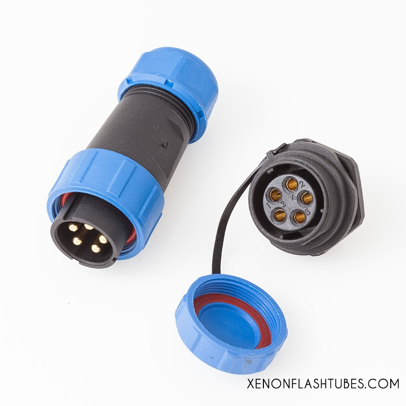 5P Flash head connector, Heavy duty Xenon flash tube lamp connector plug