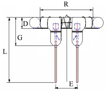 Circular round Xenon Flash tube lamp drawing